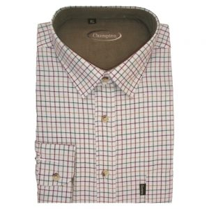 Tattersall Cotton Shirt In Wine, Tan & Green Check