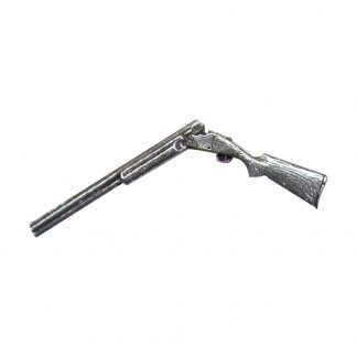 Broken Shotgun Pewter Shooting Pin Badge