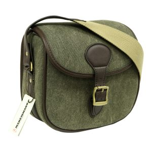 GMK Green Canvas & Brown Leather Trim Cartridge Bag