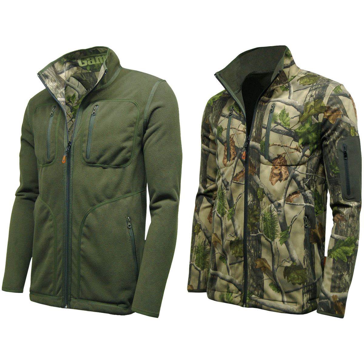 Game pursuit reversible camo green waterproof jacket for Green top hunting and fishing