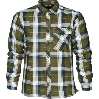 Seeland Moscus Fleece Lined Shirt in Mossy Green Check