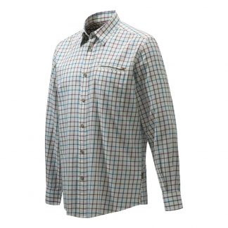 Beretta LU801 Wood Plain Collar Shirt White Light Blue Check