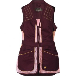 Seeland Ladies Skeet 11 Waistcoat Shooting Vest in Chocolate and Pink