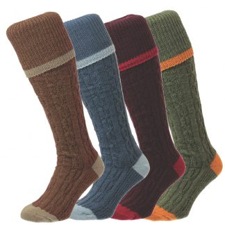 Bisley Cable Stripe Shooting Breek Socks in 4 Colours