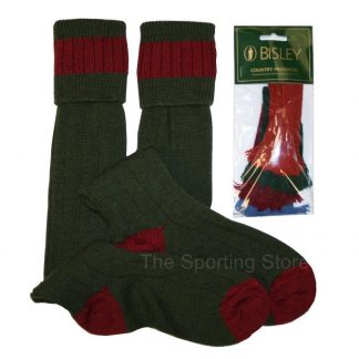 Bisley Shooting Breek Socks With Coloured Garters in Olive & Cassat