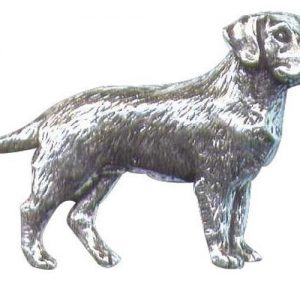 Labrador standing Pewter Shooting Pin Badge